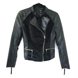 Forever 21 Faux Leather Furry Moto Jacket